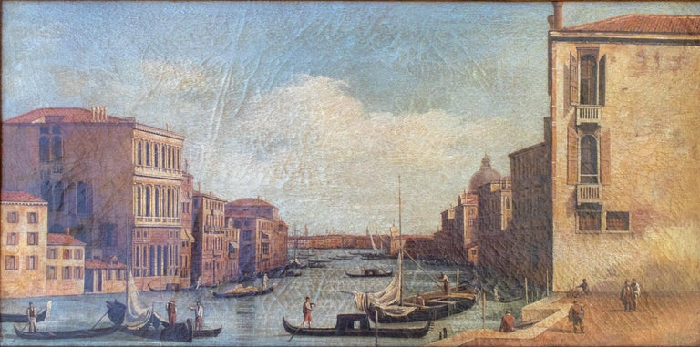1990s Italian Venetian framed oil on canvas painting with craquelure.