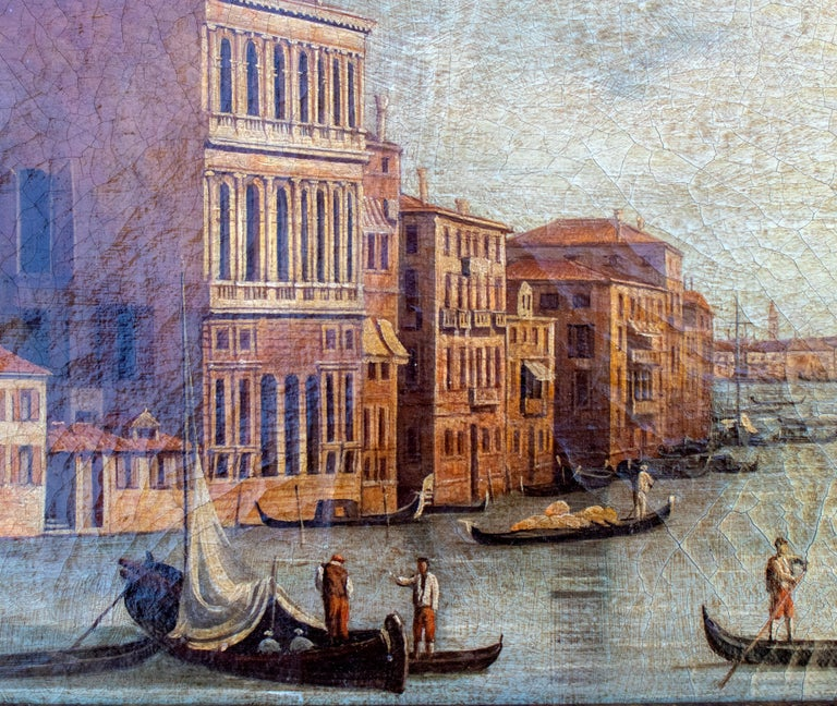 Hand-Painted 1990s Italian Venetian Framed Oil on Canvas Painting with Craquelure For Sale