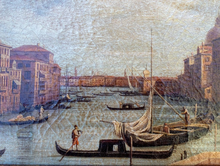 1990s Italian Venetian Framed Oil on Canvas Painting with Craquelure In Good Condition For Sale In Malaga, ES