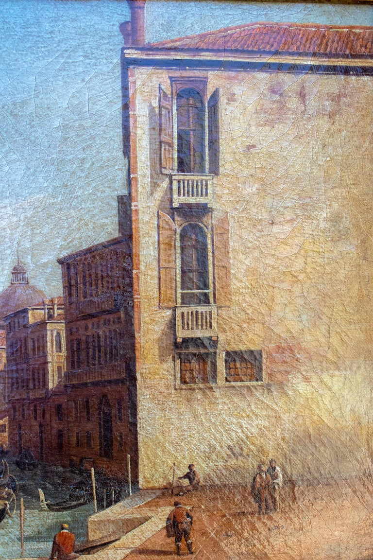 20th Century 1990s Italian Venetian Framed Oil on Canvas Painting with Craquelure For Sale