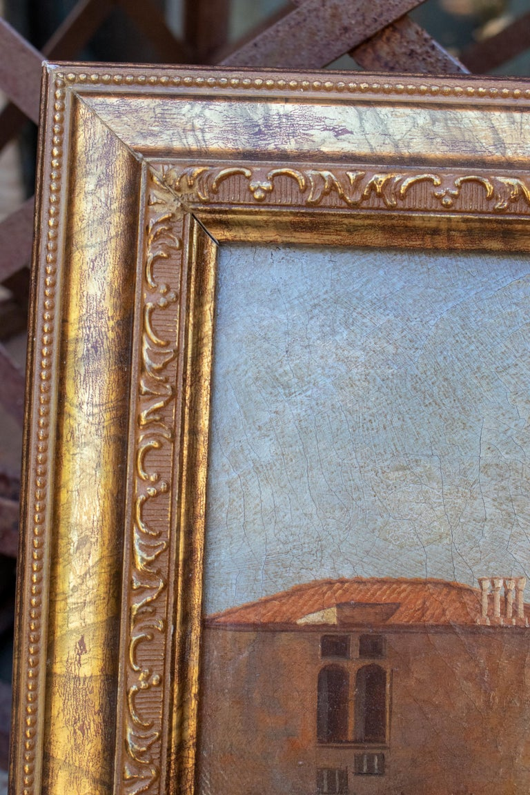 1990s Italian Venetian Framed Oil on Canvas Painting with Craquelure For Sale 1