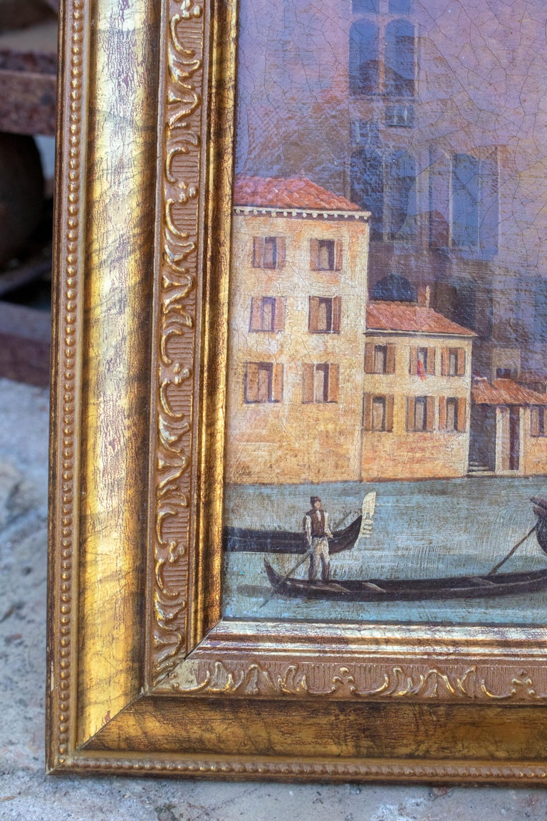 1990s Italian Venetian Framed Oil on Canvas Painting with Craquelure For Sale 2