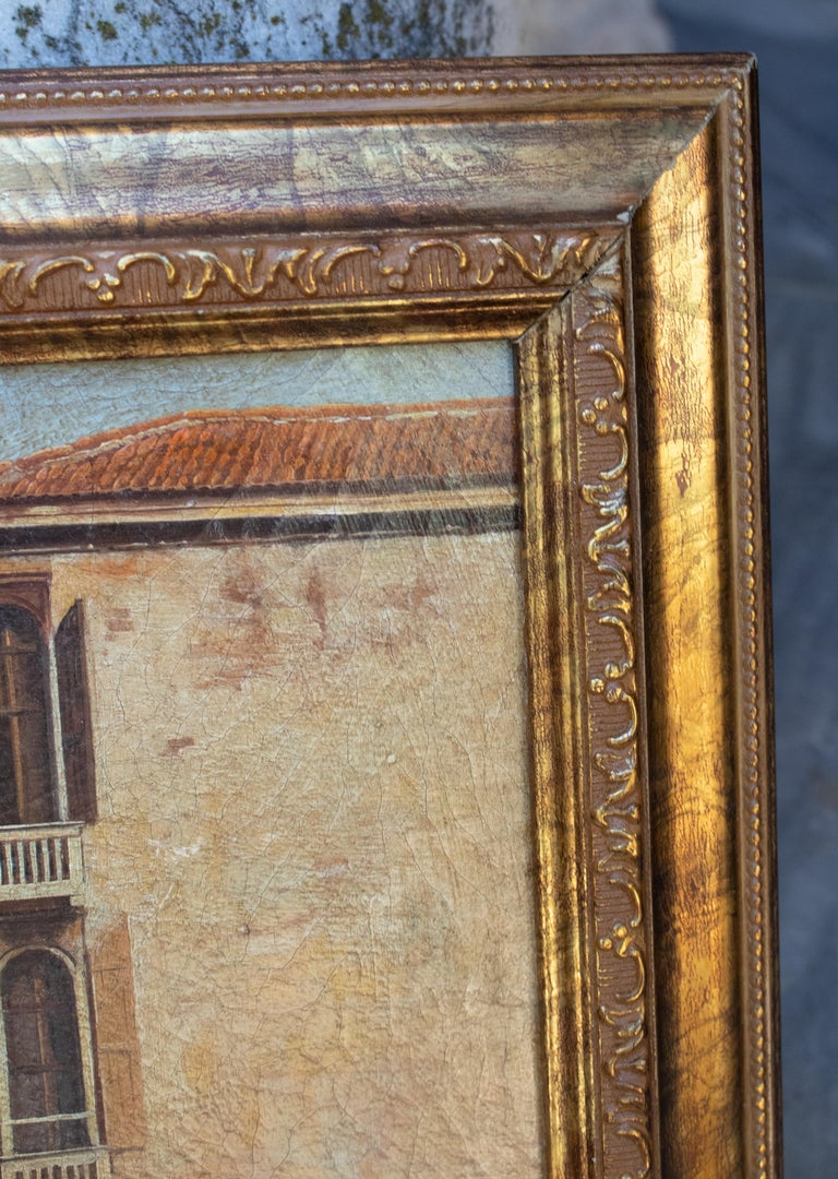 1990s Italian Venetian Framed Oil on Canvas Painting with Craquelure For Sale 3