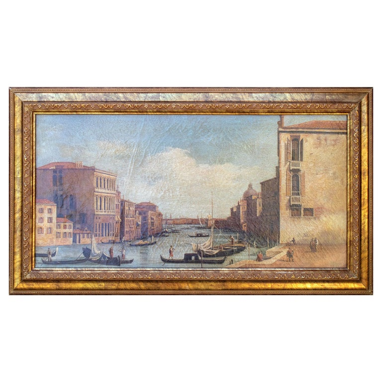1990s Italian Venetian Framed Oil on Canvas Painting with Craquelure For Sale
