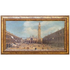 1990s Italian Venetian Framed Oil on Canvas Painting with Craquelure