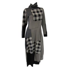 1990s Ivan Grundahl Grey and Black Patchwork Stretch Maxi Dress