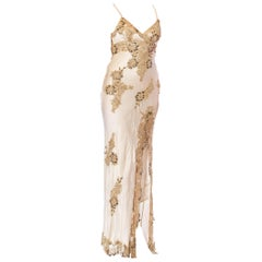 1990S Ivory Bias Cut Silk Charmeuse Galliano Style Gown With Beaded Gold Lace A