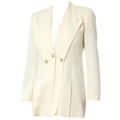1990S Ivory Polyester Peak Lapel Blazer With Pearl Buttons