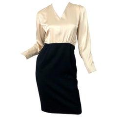 1990s James Galanos Black and White Ivory Color Block Vintage 90s Dress