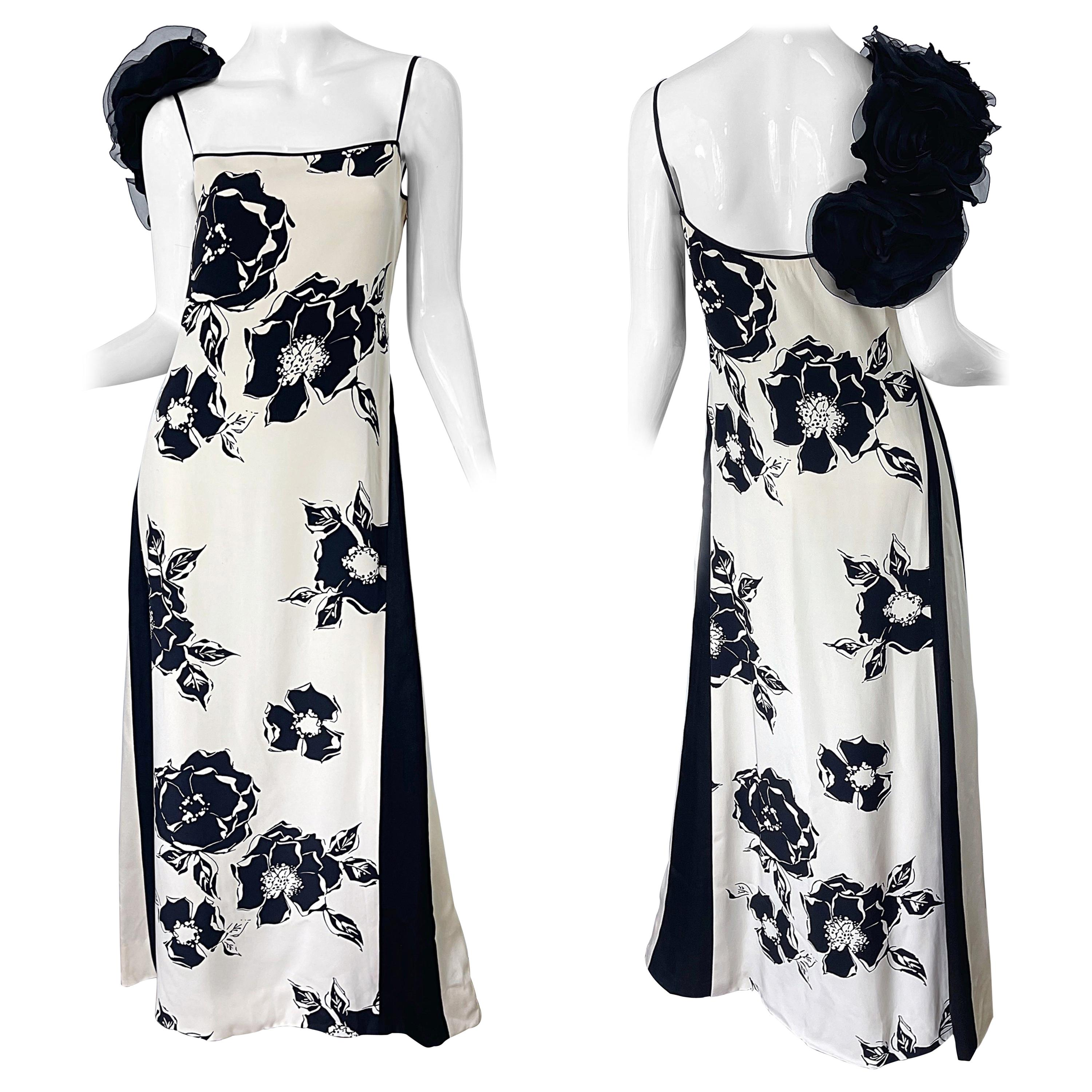 1990s James Galanos Black and White Rosette Sleeve Vintage 90s Silk Gown Dress