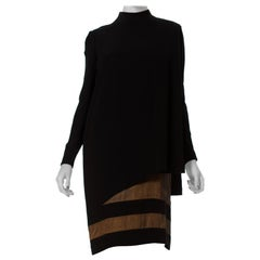 1980S JAMES GALANOS Black Silk Crepe & Chiffon Couture Finished Long Sleeve Coc