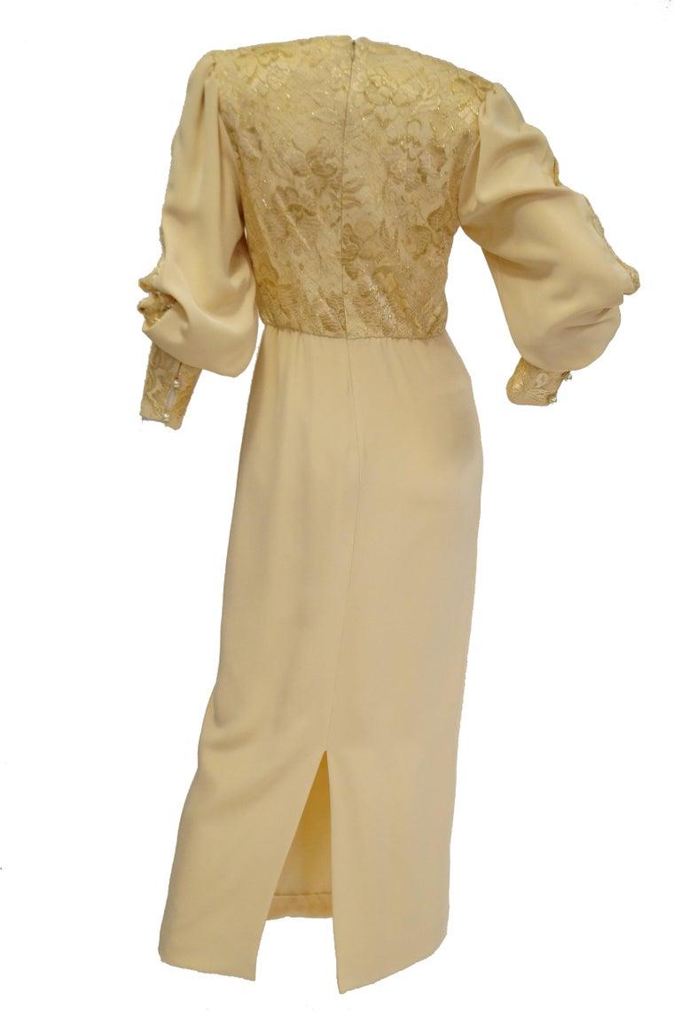 1990s James Hogan Pearl Silk Dress w/ Cut Through Lace Overlay Sleeves  For Sale 5