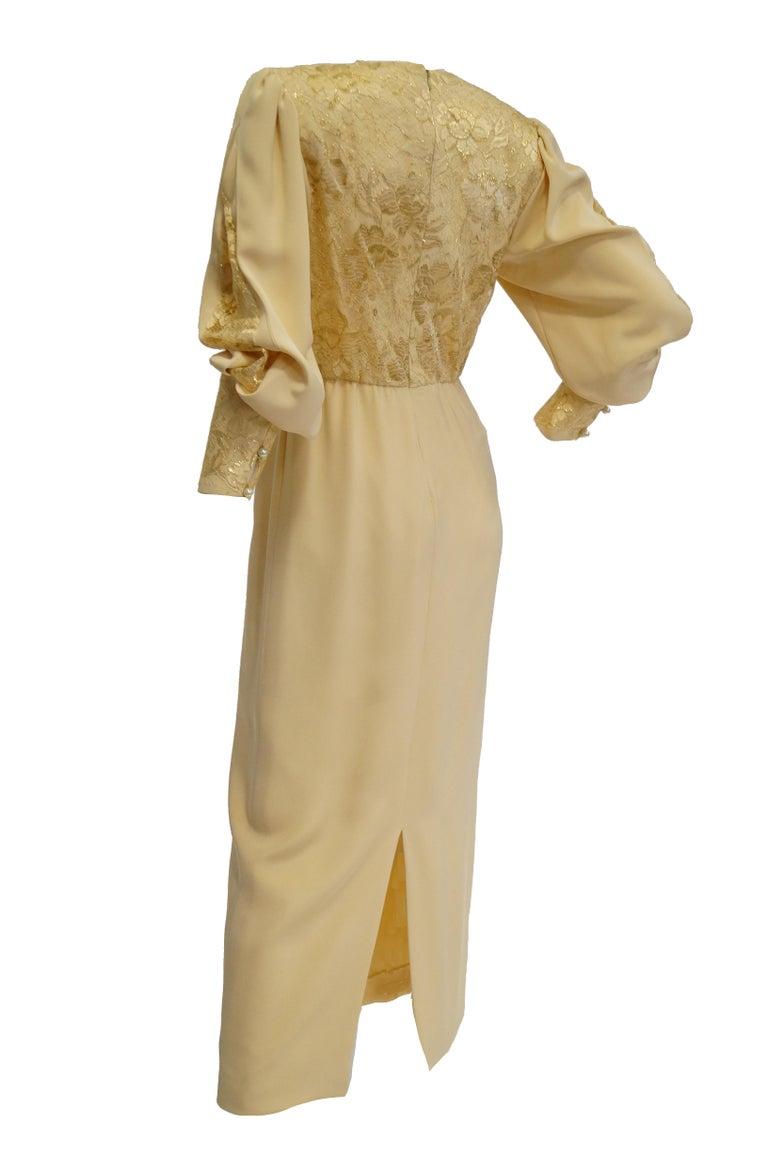 1990s James Hogan Pearl Silk Dress w/ Cut Through Lace Overlay Sleeves  For Sale 6