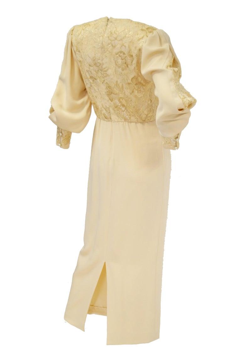 1990s James Hogan Pearl Silk Dress w/ Cut Through Lace Overlay Sleeves  For Sale 7