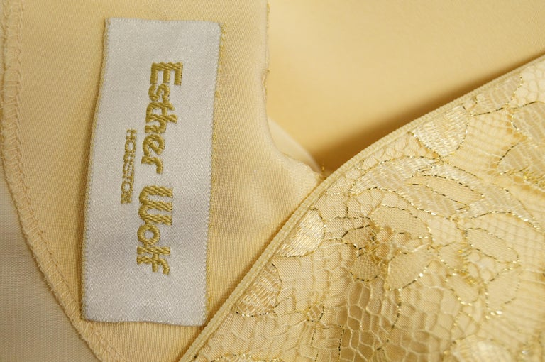 1990s James Hogan Pearl Silk Dress w/ Cut Through Lace Overlay Sleeves  For Sale 8