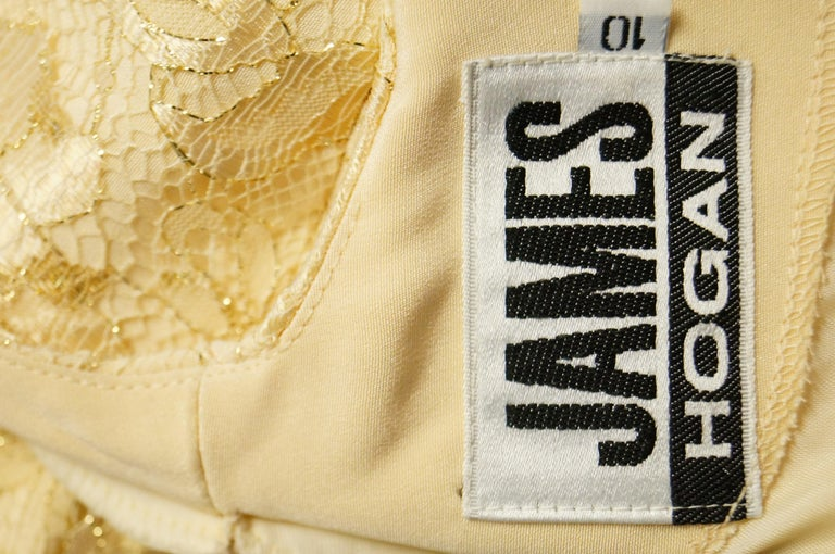 1990s James Hogan Pearl Silk Dress w/ Cut Through Lace Overlay Sleeves  For Sale 9