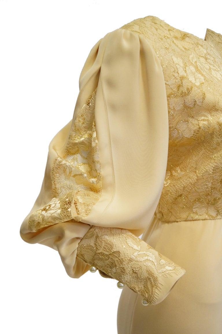 Women's 1990s James Hogan Pearl Silk Dress w/ Cut Through Lace Overlay Sleeves  For Sale