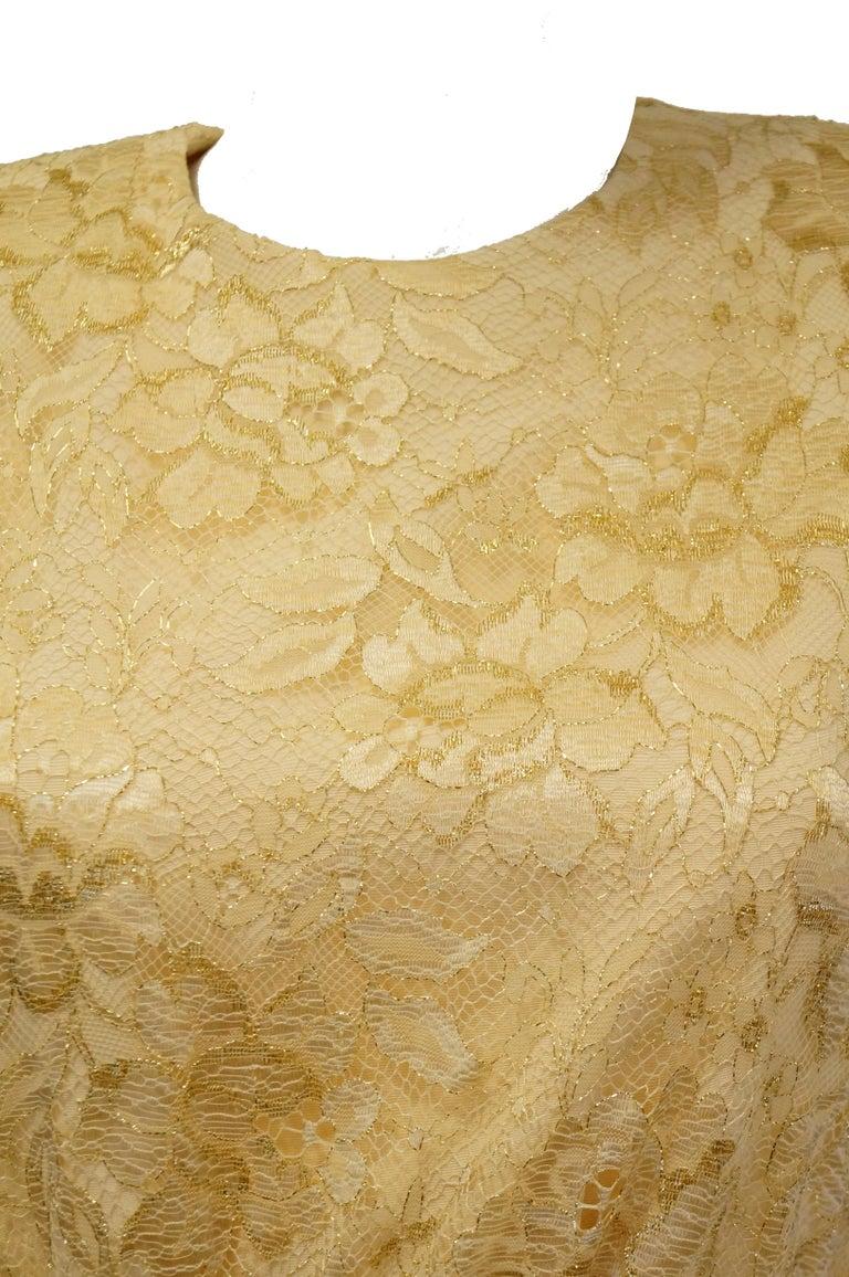 1990s James Hogan Pearl Silk Dress w/ Cut Through Lace Overlay Sleeves  For Sale 1