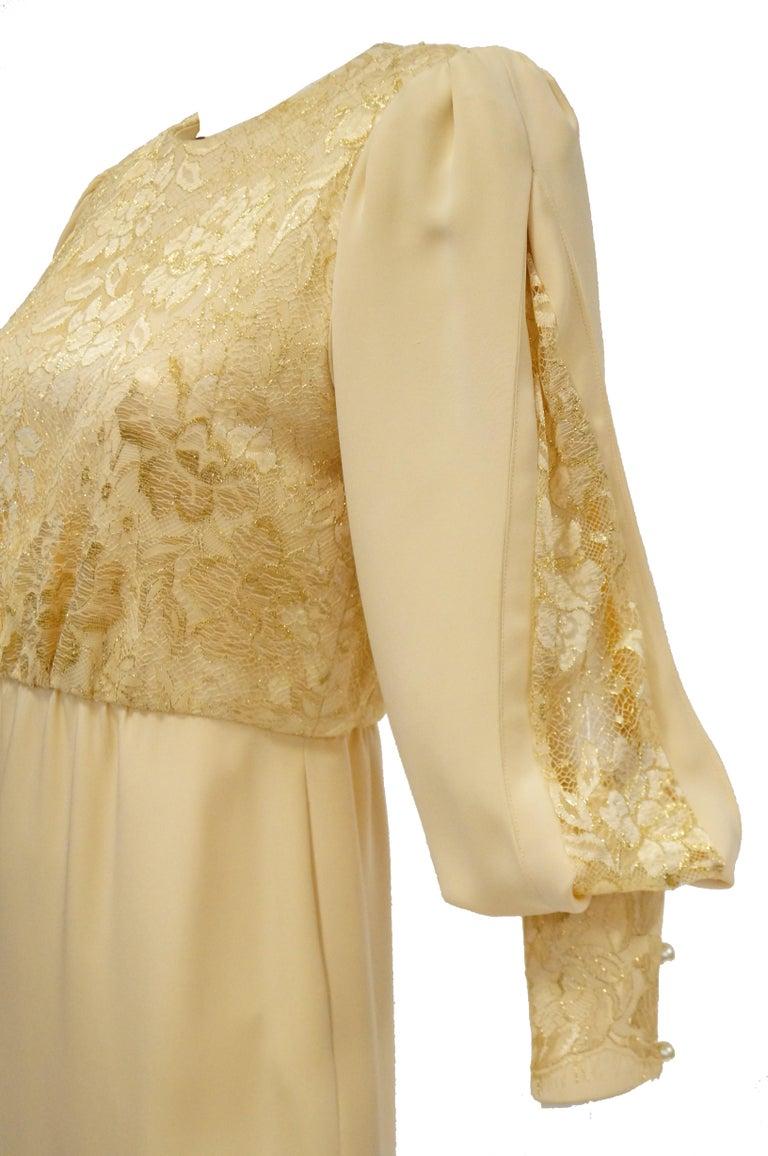 1990s James Hogan Pearl Silk Dress w/ Cut Through Lace Overlay Sleeves  For Sale 2