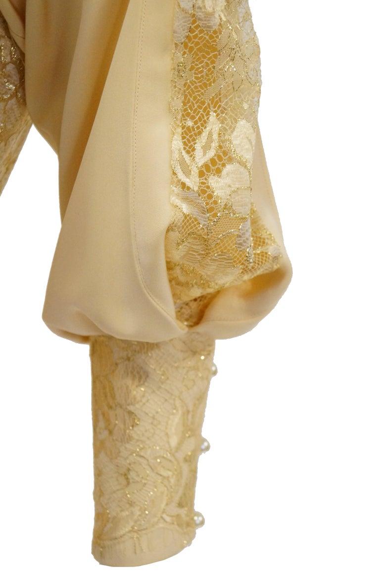 1990s James Hogan Pearl Silk Dress w/ Cut Through Lace Overlay Sleeves  For Sale 3