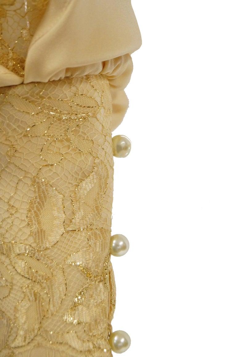 1990s James Hogan Pearl Silk Dress w/ Cut Through Lace Overlay Sleeves  For Sale 4