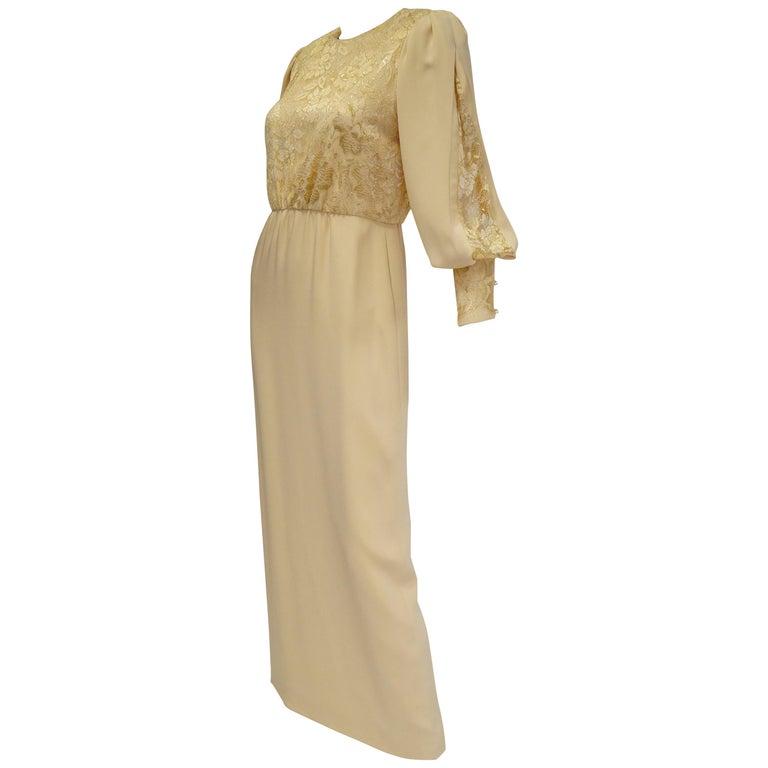 1990s James Hogan Pearl Silk Dress w/ Cut Through Lace Overlay Sleeves  For Sale