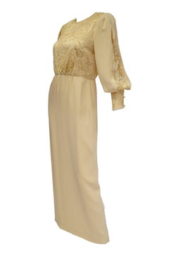 01d860f4d19 1990s James Hogan Pearl Silk Dress w  Cut Through Lace Overlay Sleeves