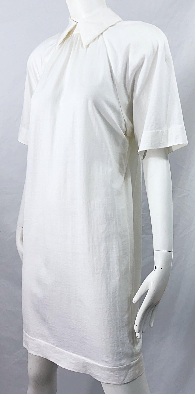 1990s James Purcell Size 6 / 8 White Cotton Vintage 90s T-Shirt Dress For Sale 5