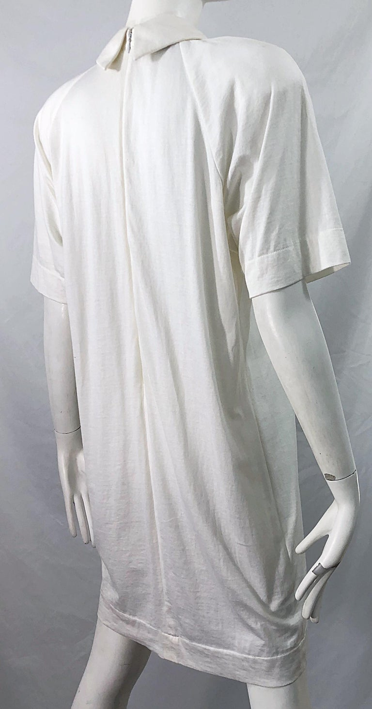 1990s James Purcell Size 6 / 8 White Cotton Vintage 90s T-Shirt Dress For Sale 6