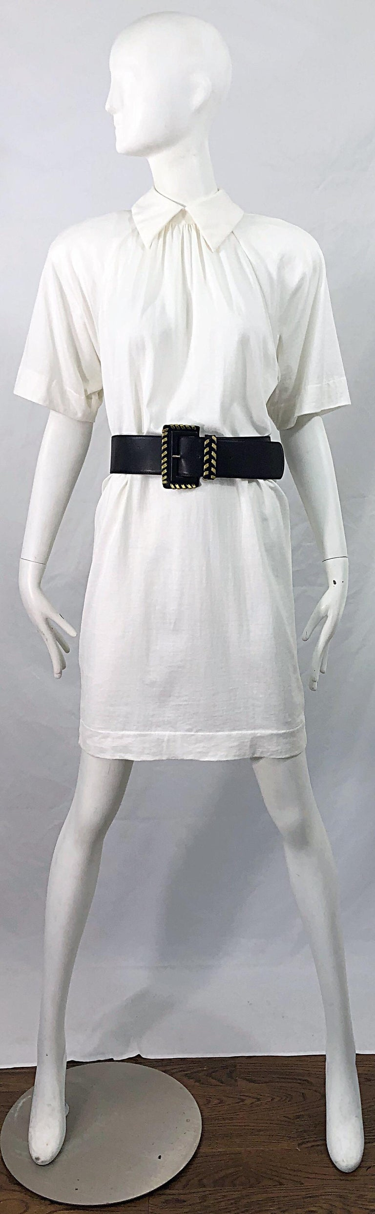 1990s James Purcell Size 6 / 8 White Cotton Vintage 90s T-Shirt Dress For Sale 7
