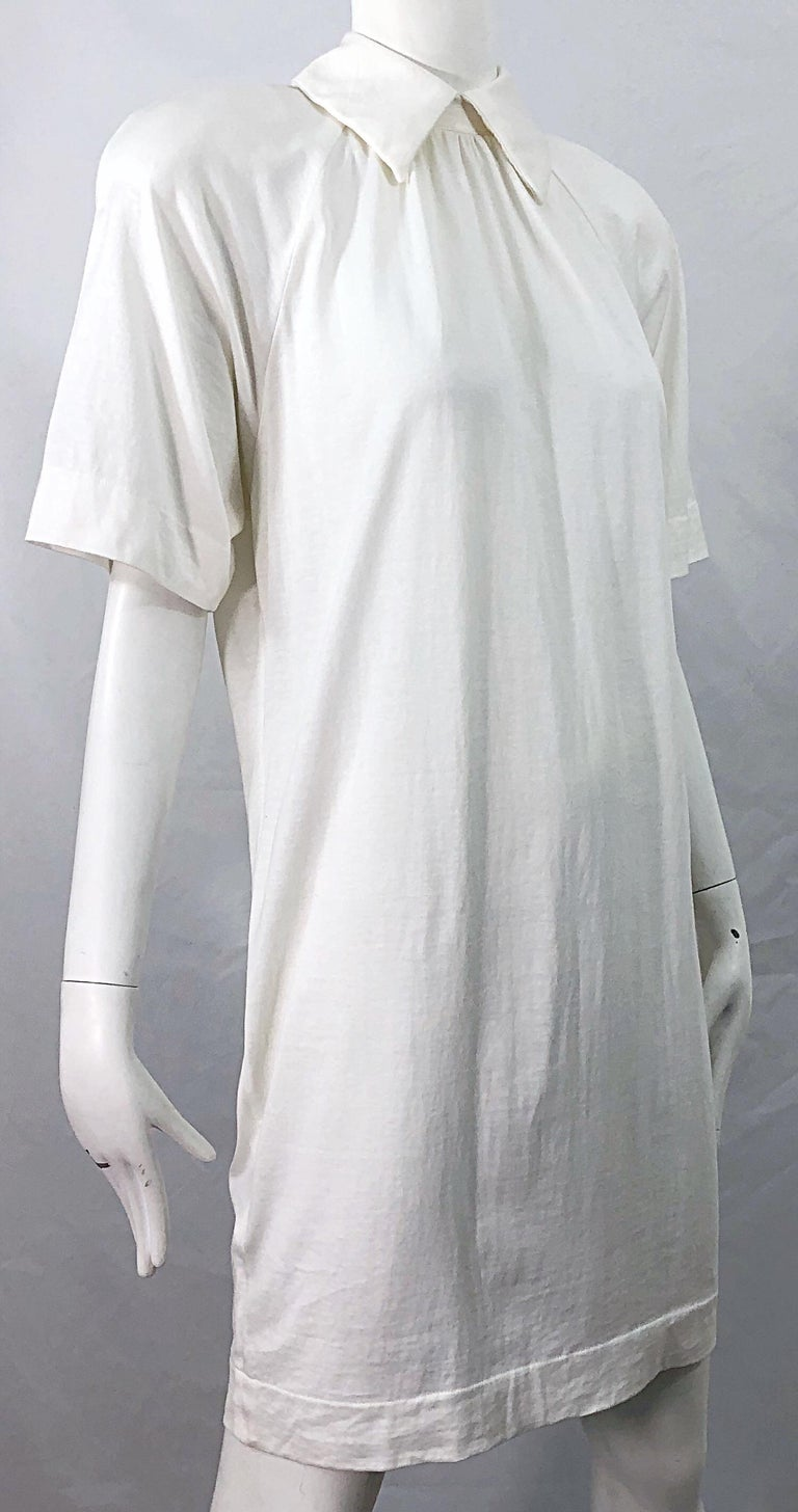 1990s James Purcell Size 6 / 8 White Cotton Vintage 90s T-Shirt Dress For Sale 8