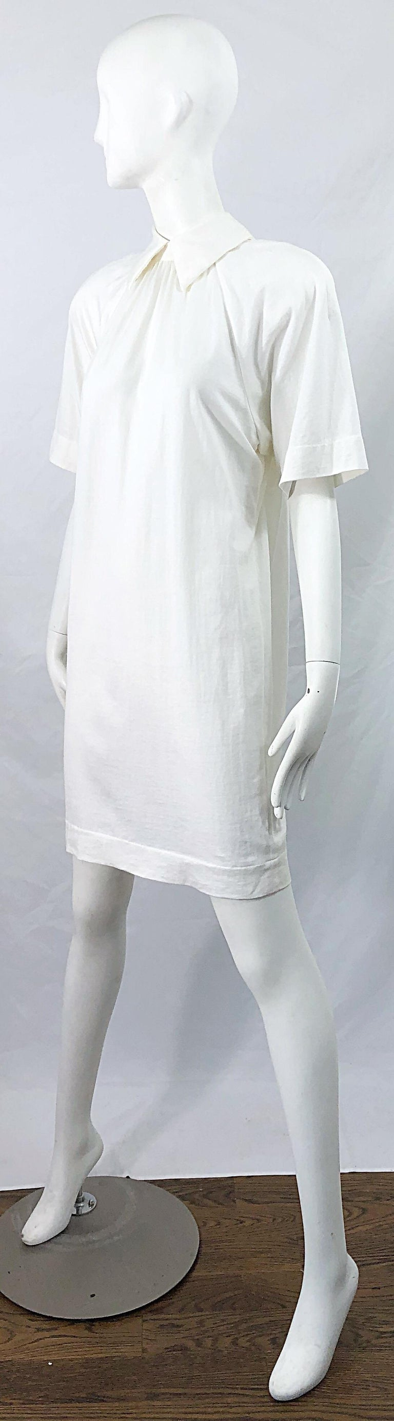 1990s James Purcell Size 6 / 8 White Cotton Vintage 90s T-Shirt Dress For Sale 9
