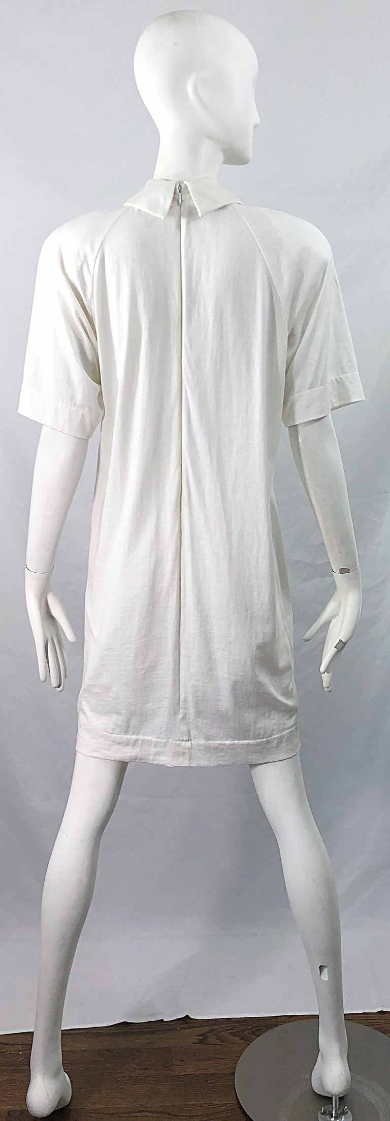 1990s James Purcell Size 6 / 8 White Cotton Vintage 90s T-Shirt Dress For Sale 10