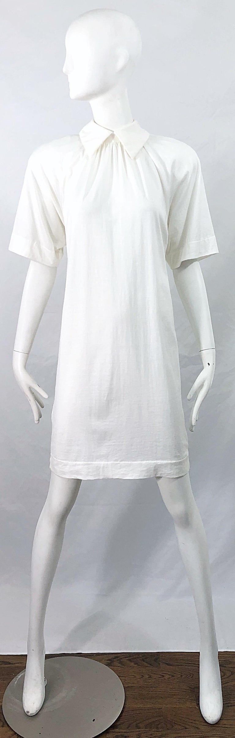 1990s James Purcell Size 6 / 8 White Cotton Vintage 90s T-Shirt Dress For Sale 11