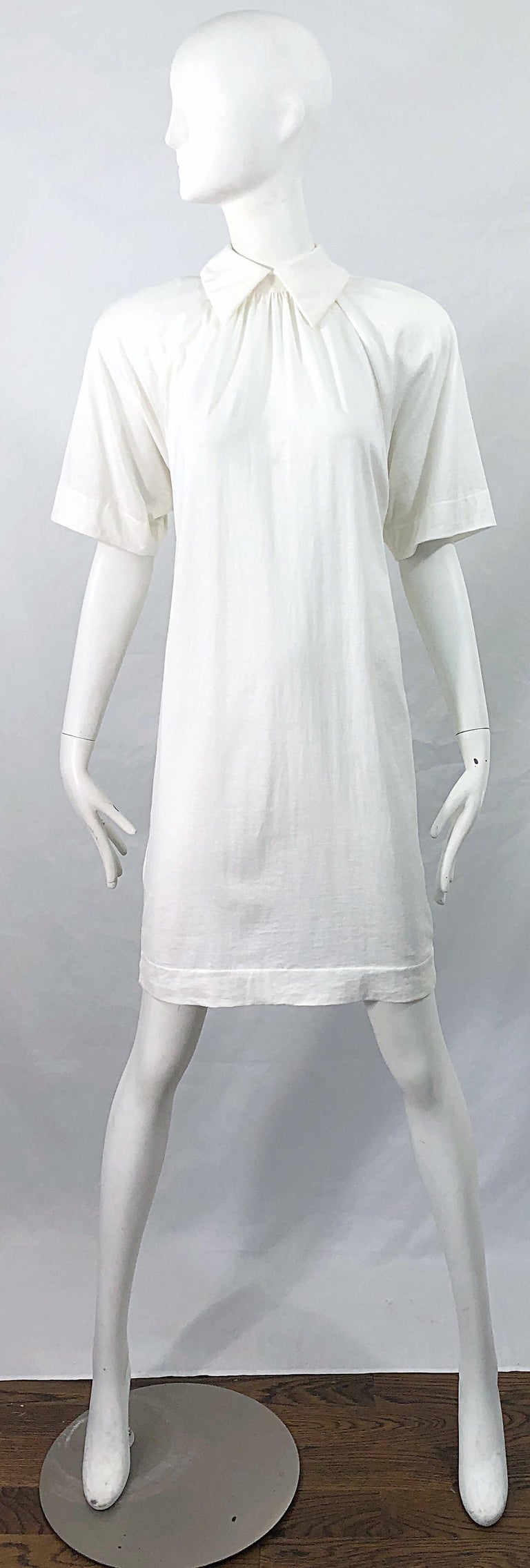 Avant Garde early 90s JAMES PURCELL Couture stark white cotton tee shirt dress ! Purcell left his lucrative marketing job on Wall Street  on May 11, 1989 to pursue his dream of becoming a designer. He was almost immediately successful, and was known