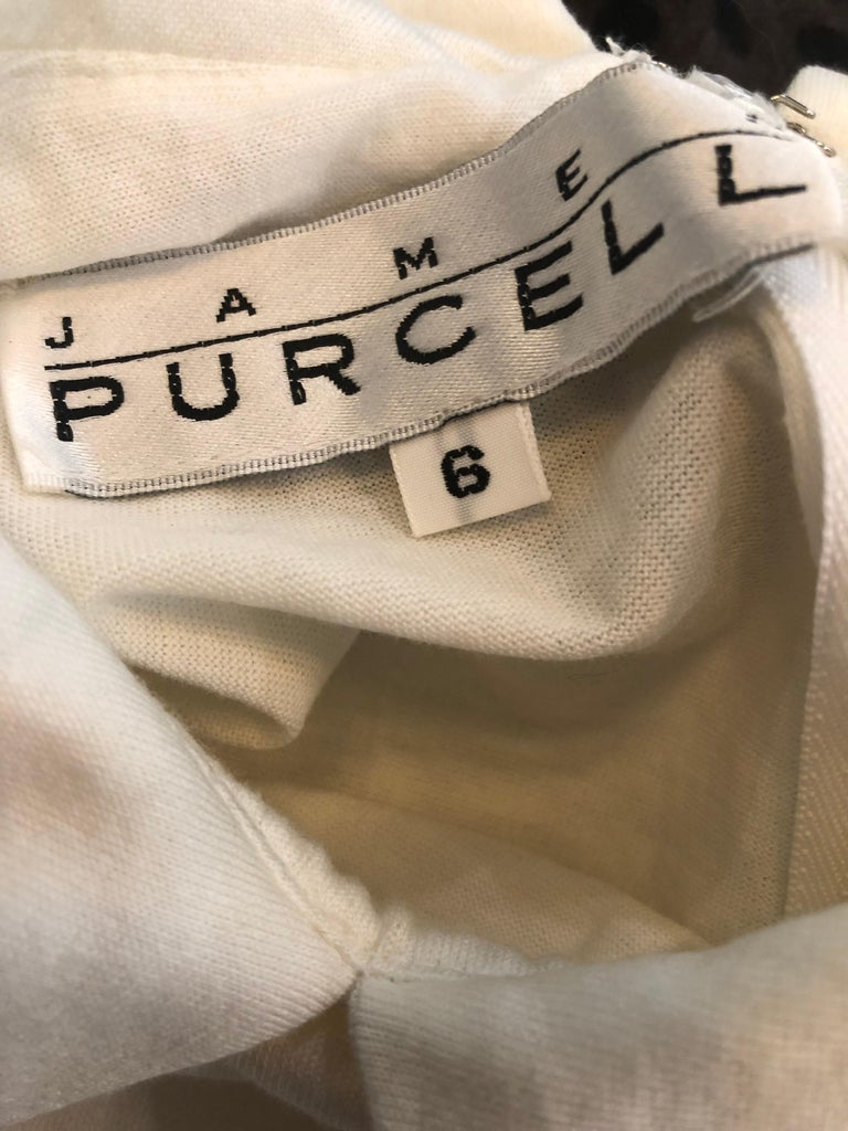 Gray 1990s James Purcell Size 6 / 8 White Cotton Vintage 90s T-Shirt Dress For Sale