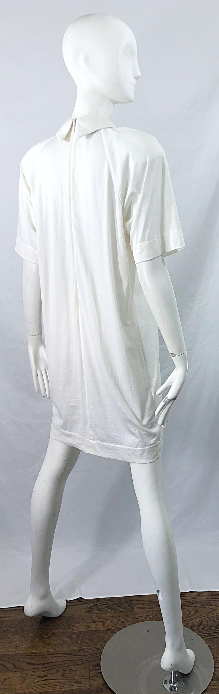 1990s James Purcell Size 6 / 8 White Cotton Vintage 90s T-Shirt Dress In Excellent Condition For Sale In Chicago, IL