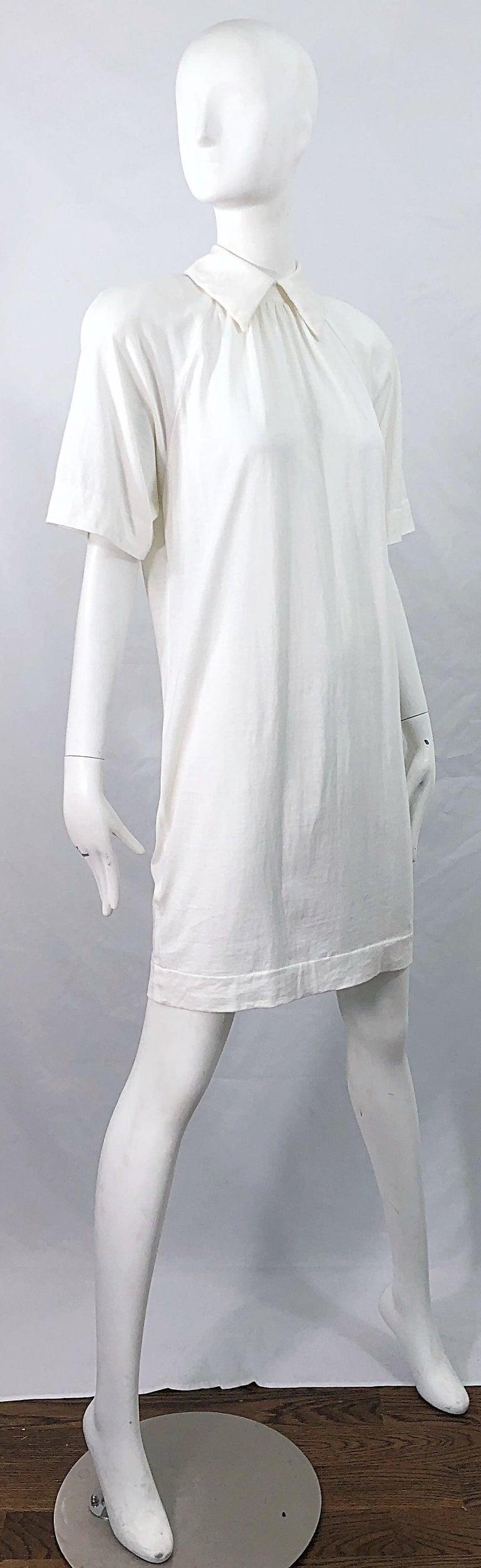 Women's 1990s James Purcell Size 6 / 8 White Cotton Vintage 90s T-Shirt Dress For Sale