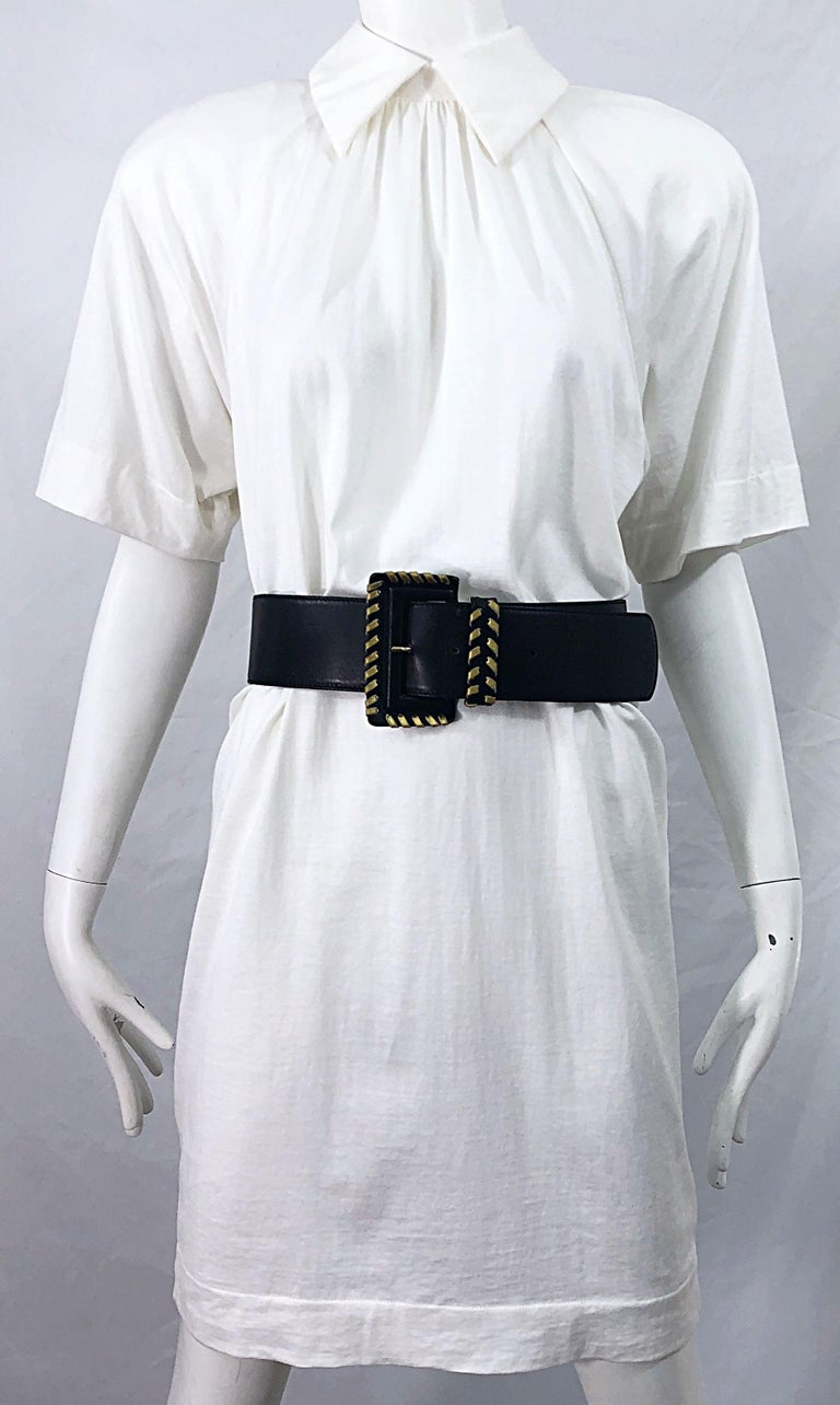 1990s James Purcell Size 6 / 8 White Cotton Vintage 90s T-Shirt Dress For Sale 1