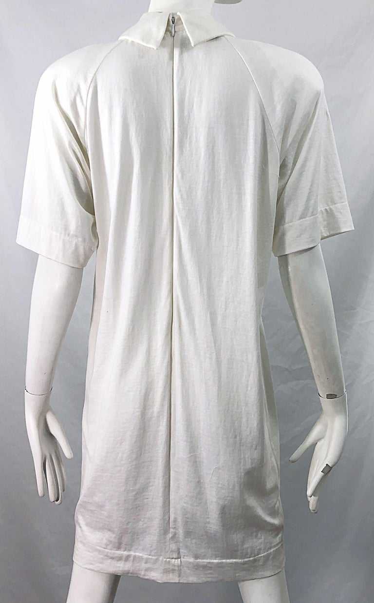 1990s James Purcell Size 6 / 8 White Cotton Vintage 90s T-Shirt Dress For Sale 3