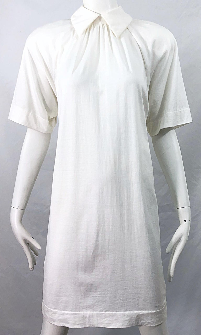 1990s James Purcell Size 6 / 8 White Cotton Vintage 90s T-Shirt Dress For Sale 4