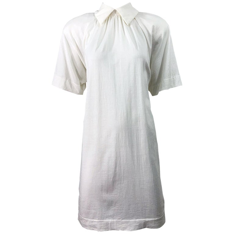 1990s James Purcell Size 6 / 8 White Cotton Vintage 90s T-Shirt Dress For Sale
