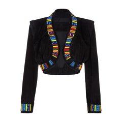 1990s Jean Claude Jitrois Black Suede & Masai Design Beaded Bolero Jacket