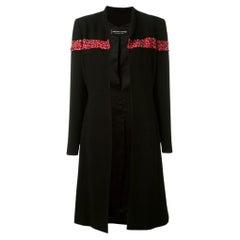 1990s Jean Louis Scherrer Black And Red Wool Coat