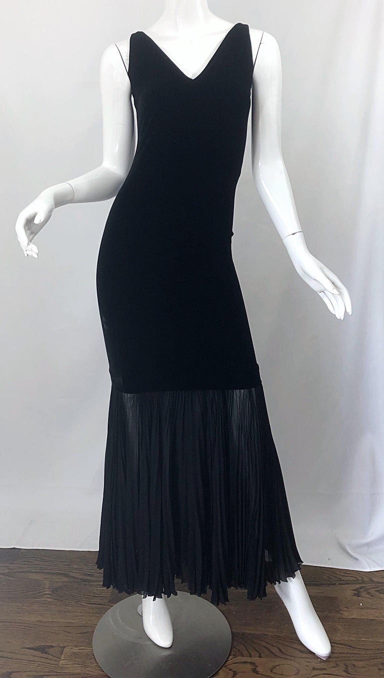 1990s Jean Paul Gaultier Avant Garde Black Velvet Vintage 90s Mermaid Gown Dress For Sale 6