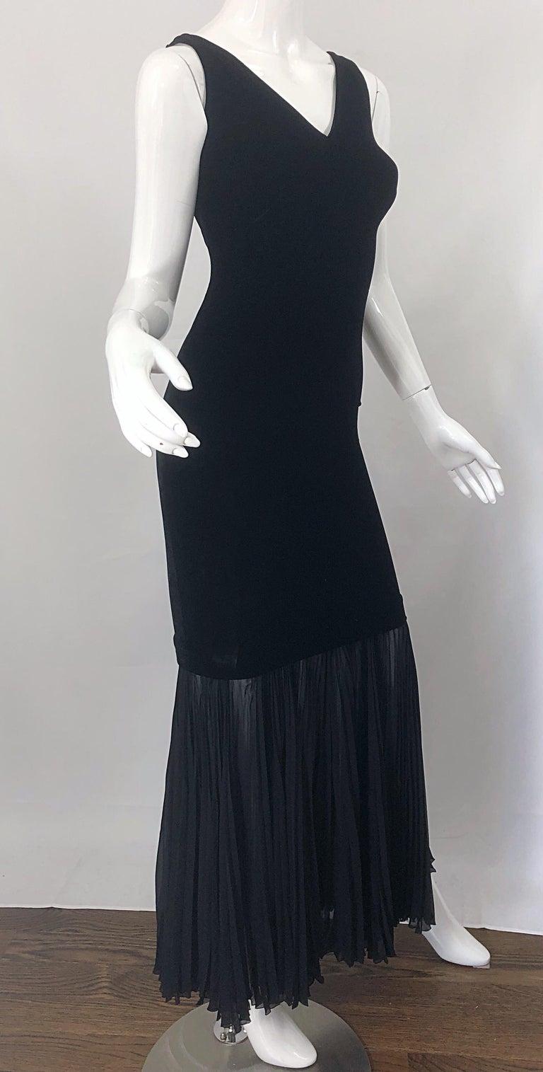 1990s Jean Paul Gaultier Avant Garde Black Velvet Vintage 90s Mermaid Gown Dress For Sale 7
