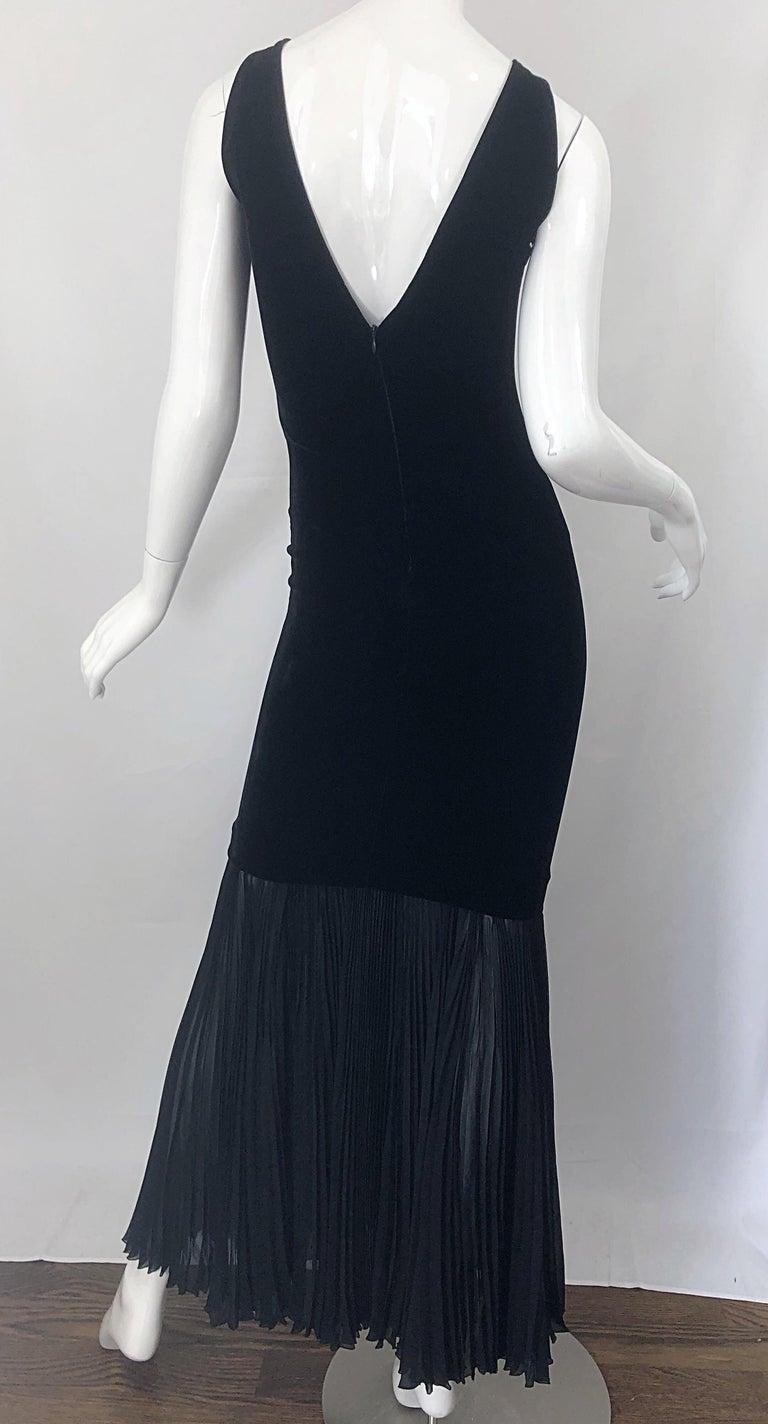 1990s Jean Paul Gaultier Avant Garde Black Velvet Vintage 90s Mermaid Gown Dress For Sale 8