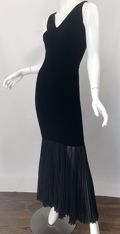 1990s Jean Paul Gaultier Avant Garde Black Velvet Vintage 90s Mermaid Gown Dress For Sale 9