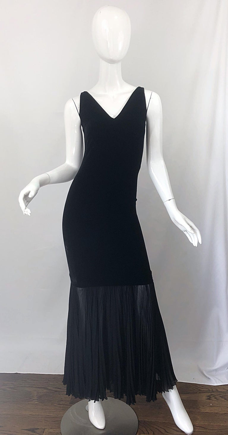 1990s Jean Paul Gaultier Avant Garde Black Velvet Vintage 90s Mermaid Gown Dress For Sale 10