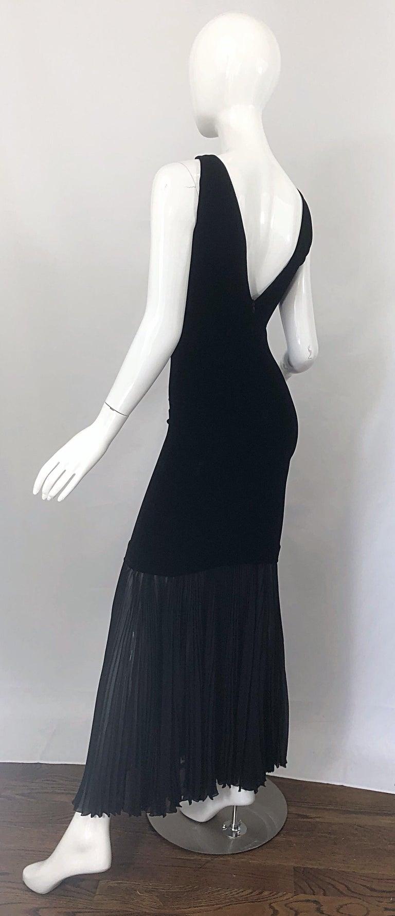 1990s Jean Paul Gaultier Avant Garde Black Velvet Vintage 90s Mermaid Gown Dress For Sale 11